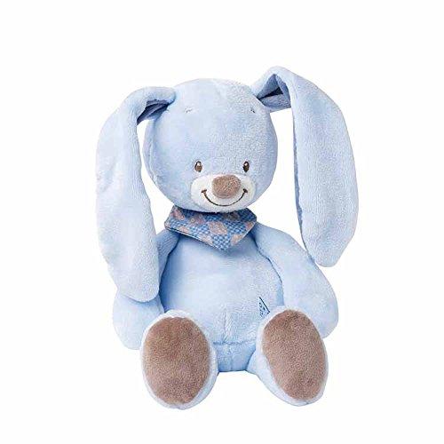 Nattou Kuscheltier für Babys, Jungen, 28 cm, blau - Bibou das Kaninchen