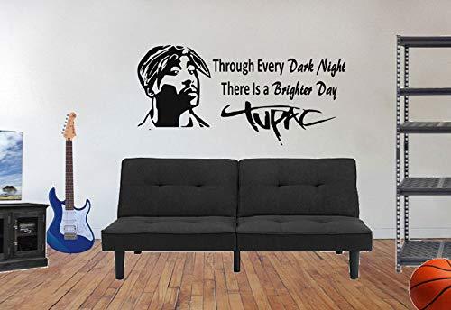 Tupac Shakur Wandtattoos Musikdekoration Hip Hop Deko-Decals Musik-Decals Rap Musik-Decals schwarz Geschichte 57 * 118cm