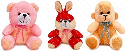 Richy Toys 25 cm Combo Rabbit Monkey and Teddy Soft Toy kids birthday Gift