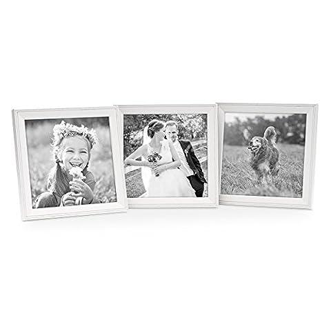 3er Set Landhaus-Bilderrahmen 15x15 cm Weiss Massivholz mit Glasscheibe und Zubehör / zum Stellen oder Hängen /