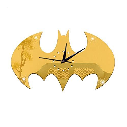 GYGUYHIHY Wohnzimmer Wanduhr Acryl Bodenuhr DIY Kreative Batman Uhren Dekoration Handwerk Cartoon Schwarze Uhr,Gold