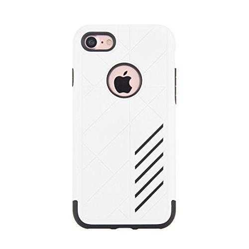 """MOONCASE iPhone 7 Coque, Combo Housse Hybride TPU +PC Etui Antichoc Anti Dérapant Robuste Protection Dual Layer d'Armure Lourde Case pour iPhone 7 4.7"""" Noir blanc"""