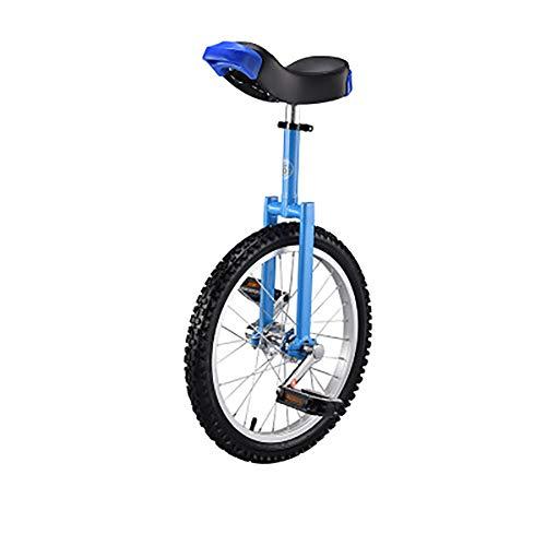 SHARESUN 20-Zoll-Stahlgabelrahmen Einrad mit komfortablem Sattelsitz Rubber Mountain Reifen für Balance-Übungstraining Road Street Bike Radfahren,Blue -