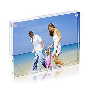 AmeiTech Magneticsche, ACRYI Foto-Bilderrahmen,Haelt 13X18cm Fotos, 10mm+10mm Dicker Transparent und Rahmenlos -Transparent