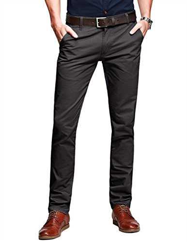 Match Mens Slim-Tapered Flat-Front Casual Trousers(Army gray,W32 x Regular)