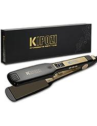 Lisseur Styler Fer à lisser Professionnel KIPOZI à larges plaques avec Ecran LCD et fonction multi-voltage à chauffe rapide (Noir)