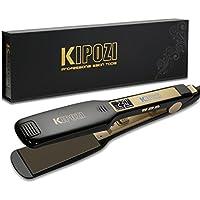 Plancha de Pelo Profesional KIPOZI de Placas Anchas con Pantalla Digital LCD y Voltaje Dual para Alisar tu Pelo Rápidamente (Negro)