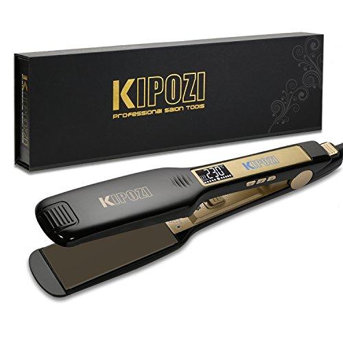 KIPOZI Lisseur Cheveux Professionnel Fer à Lisser à Larges Plaques avec Ecran LCD et Fonction Multi-voltage à Chauffe Rapide...