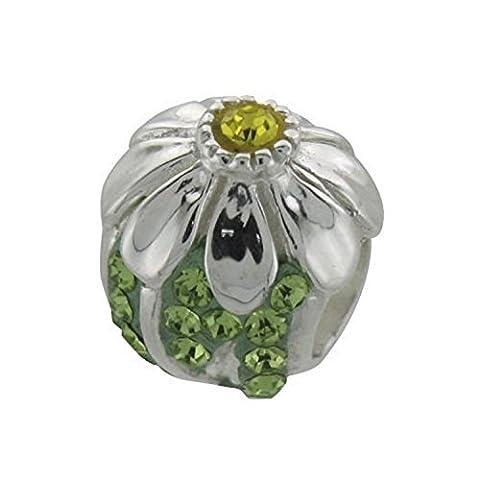 Vert Fleur Strass Cristal Perle en argent fin pour bracelet de Style Pandora