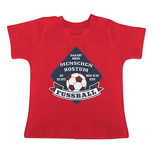 (Karneval und Fasching Baby - Das ist Mein Menschen Kostüm in echt Bin ich EIN Fussball - 12-18 Monate - Rot - BZ02 - Baby T-Shirt Kurzarm)
