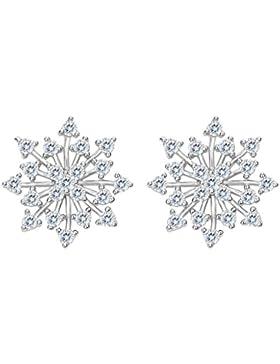 Clearine Damen 925 Sterling Silber CZ '' Wenn es schneit'' Schneeflocken Ohrstecker Ohrringe Klar