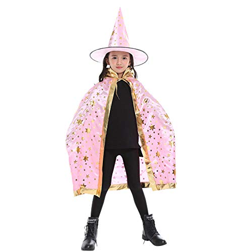 (Ansenesna Halloween Kinder Mädchen Jungen Erwachsene Zauberer Wizard Hexe Mantel Cape Robe + Cap Set (Rosa))