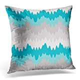 Throw Pillow Cover Bedding Teal Turquoise Blue Grey Gray Chevron Ombre Girl Decorative Pillow Case Home Decor Square 18x18 inches Pillowcase
