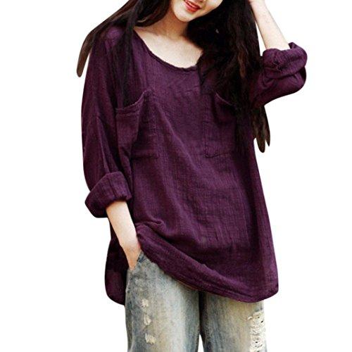 MRULIC Damen Leinen Gemütlich Leinen Dünnschnitt Lose langärmelige Bluse T-Shirt Pullover(Lila,EU-48/CN-3XL) (2 Pocket-leinen-tunika)