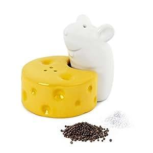 Salière et Poivrier Fromage et souris I love cheese Blanc et jaune Céramique Balvi 25816