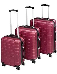 TecTake Set de 3 valises de Voyage de ABS   avec Serrure à Combinaison intégrée   poignée télescopique   roulettes 360° - diverses Couleurs au Choix (Bordeaux  no. 402670)