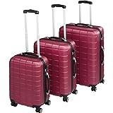TecTake Set de 3 valises de Voyage de ABS | avec Serrure à Combinaison intégrée | poignée télescopique | roulettes 360° - diverses Couleurs au Choix (Bordeaux| no. 402670)