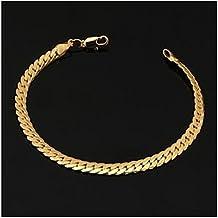 GYJUN 18k oro gruesa pulsera de cadena figaro lleno de los hombres con el sello '18k' de alta calidad para los hombres 6mm 21cm , gold