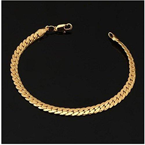 GYJUN Herren 18k Gold gefüllt klobigen figaro Kette Armband mit