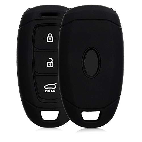 kwmobile Autoschlüssel Hülle für Hyundai - Silikon Schutzhülle Schlüsselhülle Cover für Hyundai 3-Tasten Autoschlüssel Keyless Go Schwarz