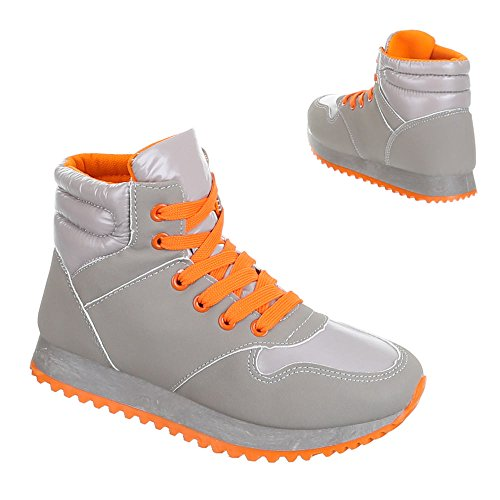 Chaussures femme, 209–1, loisirs chaussures sneakers chaussures de sport Orange - Orange Grau