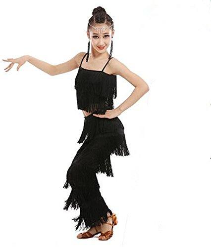 Mädchen Latin Tanz Show / Quaste Kostüm / 2 Stück / Top und Rock / Kinder tanzen Wettbewerb , (100 Top Tanz Kostüme Wettbewerbs)