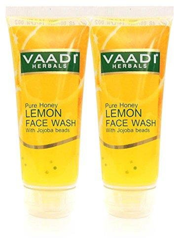 vaadi Herbals Honig Lemon Face Wash mit Jojoba beads- alle natürliches Produkt Anti acne- Hydrating cleanser- Gute moisturizer- je 60ml Value Pack 2(120ml-4.05Unzen) - - Akne Purifying Gel Cleanser
