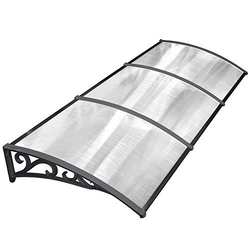 MVPOWER Pensilina Tettoia per Porta Balcone Esterno Tenda da Veranda Pensilina Alveolare in Policarbonato (270*98.5cm, Nero)