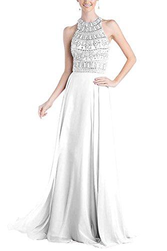 Bridal_Mall Damen Crew Neck wulstige Bling Keyhole Chiffon Abendkleider Weiß