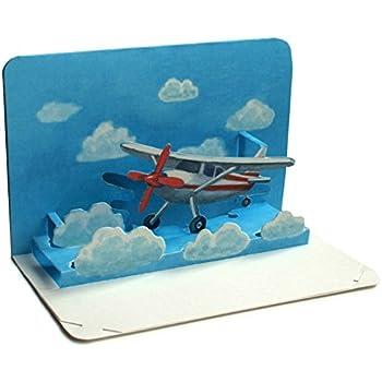 """""""BON VOYAGE"""": 3 D carte pop-up / carte pliante 3 D avec un petit avion - idéale comme bon de"""