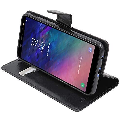 ebestStar - compatibel Samsung Galaxy A6 2018 Hülle SM-A600F Kunstleder Wallet Case Handyhülle [PU Leder], Kartenfächern, Standfunktion, Schwarz [Phone: 149.9 x 70.8 x 7.7mm, 5.6'']