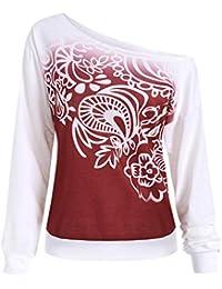 c629cfd6f Longra☀ Casual otoño Impreso Manga Larga Camiseta Blusa Camiseta Sport Tops