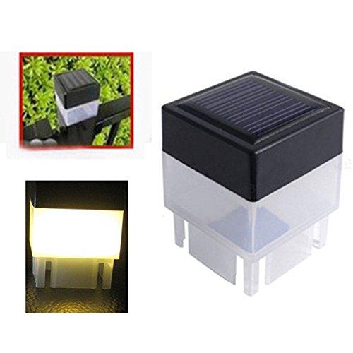 Danigrefinb Außenbeleuchtung, solarbetrieben, Zaunpfosten, Pool, quadratisch, LED-Licht für den Garten, wasserfest, warmweiß, Einheitsgröße
