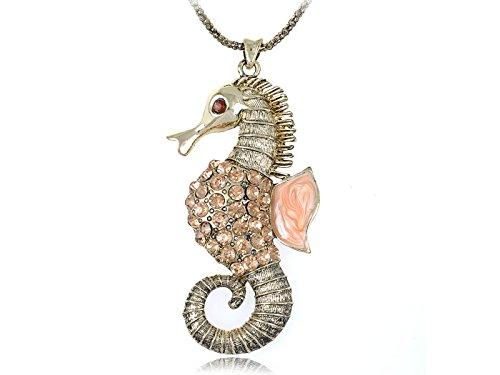 Alilang synthetische Topaz Crystal Rhinestone MeeresLebewesen Seepferdchen Kostüm Halskette
