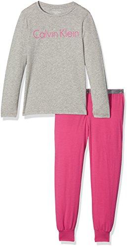 Calvin Klein Mädchen Ls Knit Pj Set Zweiteiliger Schlafanzug, Grau (Grey Heather W/Lilac Rose 019), 10 Jahre (Herstellergröße: 8-10) -