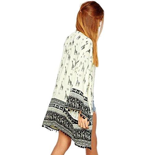 Veste Cardigan RéTro OHQ Imprimé Girafe Femmes Girafe Motif Imprimé Cardigan Kimono Blouse Tops Plage Couvrir Blanc