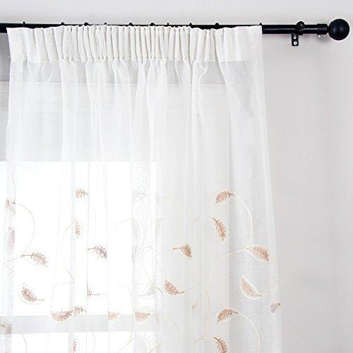 Top Finel Rideaux Voilages Motif de Feuille à Galon Fronceur pour Salon Chambre Cuisine, Lot de 2 rideaux,200cm(largeur)x250cm(hauteur),Brun