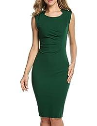 50e7dbdba2df7c Parabler Damen Rundhalsausschnitt Wickelkleid Bleistiftkleid Etuikleid  Ärmellos Knielang Abendkleid Business Kleid