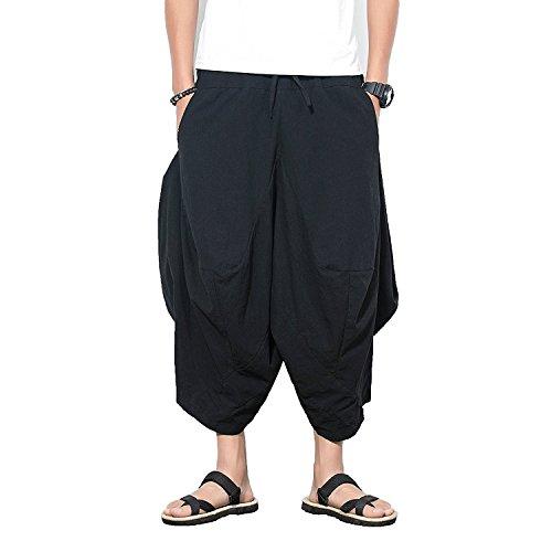 INVACHI Herren elastic waist wide leg cotton harem pants baggy patchwork leinen capri hose verfügbar klein schwarz Cotton Wide Leg Capris