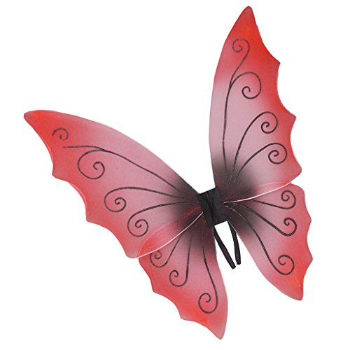 MagiDeal Kinder Mädchen Fee Flügel, Party Kostüm Zubehör, Feen Kostüm für Kinder, Halloween cosplay Flügel - Rot schwarz, 60 x 68 - Rote Und Schwarze Fee Kostüm