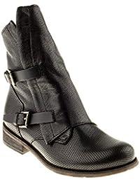 Felmini - Zapatos para Mujer - Enamorarse con Harlem 8489 - Cowboy & Biker Botas Altas - Cuero Genuine - Negro - EU:39