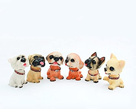 F-Sport Set of 6 PCS Bobble Shaking Head Dog Doll Cute Home Decorations Car Decorations Creative Gift Dog Decoration Present for Birthday and Christmas (Dimension:3*4*5