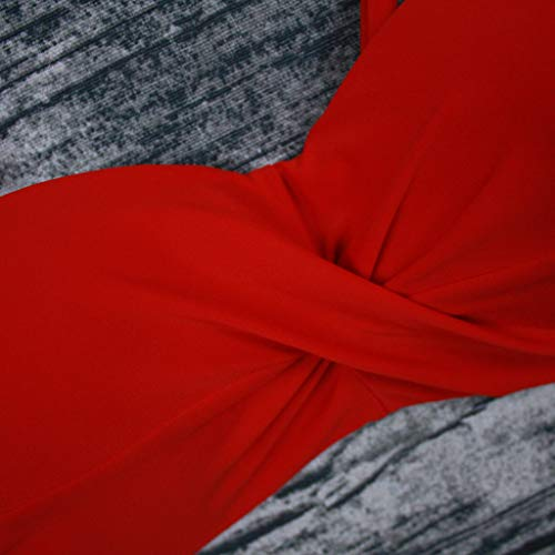Bikini-Sets Damen, Geteilter Badeanzug Frauen High Waist Geblümte Schwimmanzug Einfarbiges Wickel Slip Bikinihosen Badeanzüge Zweiteiler Bademode Swimsuit Swimwear Bekleidung (Rot, M) - 5