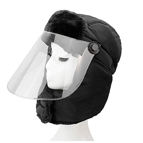 LIXUE Chapeau Chaud Femelle Noir Masque Transparent Chapeau Chaud Duveteux Protection auditive imperméable à l'eau Cap
