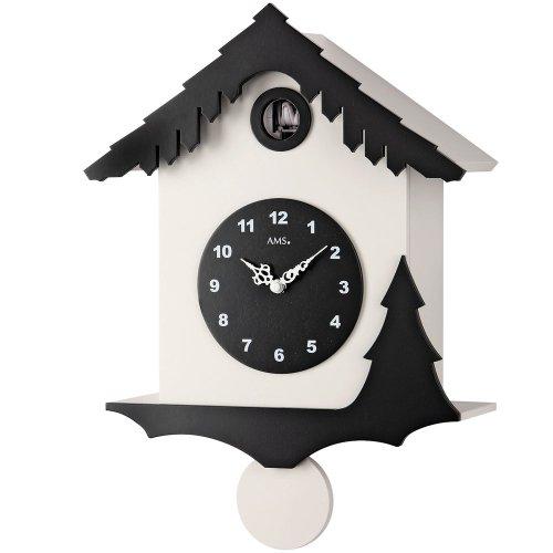 Orologio a pendolo ams 7391orologio a cucù al quarzo pendolo legno laccato in bianco e nero