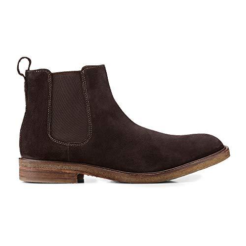 Belmondo Herren Herren Chelsea-Boots aus Leder, Stiefeletten in Dunkel-Braun mit Gummi-Sohle Braun Rauleder 44