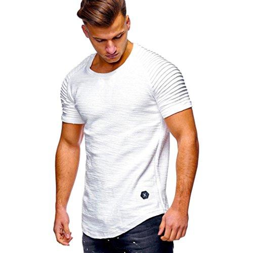 Herren Sommer Shirt Slim Fit Sport Kurzarm-Shirt O Hals Muscle Oberteile Bluse,Hevoiok Mode Männer lässig Gefaltete Raglan ärmel Tees Shirt Tops Baumwolle (Weiß, L)