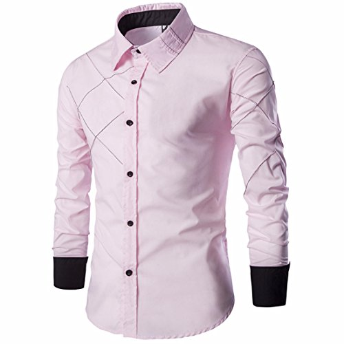 Men's Striped Turn Down Collar Long Sleeve Casual Shirts pink