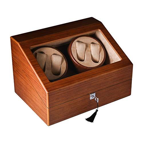 Hölzerne Uhrenbeweger Fur Automatikuhren 4 Uhren Aufbewahrungsboxen, Watch Winders Box Holzuhren Armband Aufbewahrungskoffer Rotator Box, 5 Modi, Braun