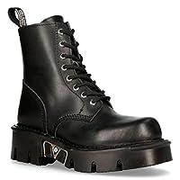 New Rock Mili-084N-S3 Black Gothic Boots Military Unisex 8 Hole Biker Shoes Goth